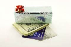 Gift with Money and Credit Cards Royalty Free Stock Photo