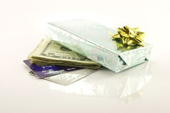 Gift with Money and Credit Cards Stock Image
