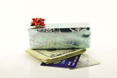 Gift with Money and Credit Cards Stock Images