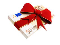 Gift of Money euro. On a white background Royalty Free Stock Images