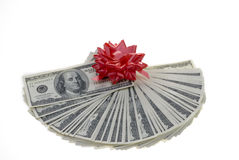Gift money fan over white. Royalty Free Stock Images