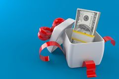 Gift with money. On blue background Stock Photos