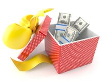 Gift with money. Isolated on white background Royalty Free Stock Images