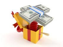 Gift with money. Isolated on white background Stock Images
