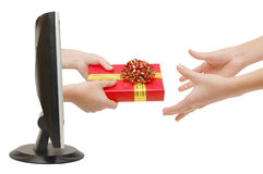 Gift from the monitor Royalty Free Stock Images