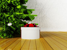 Gift near the Christmas tree. 3d rendering Stock Photo