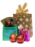 Gift and new year's embellishment. On white background Royalty Free Stock Images