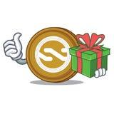 With gift Nxt coin mascot cartoon. Vector illustration Stock Photos