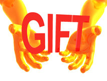 Gift offer 3d arms Stock Photo
