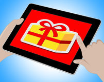Gift Online Shows Computing Giving And Surprises. Gift Online Indicating Surprise Giftbox And Wrapped Stock Photo