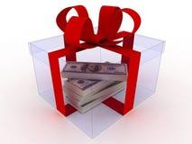 Gift op wit met geld Royalty-vrije Stock Fotografie