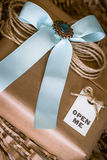 Gift. With open me label and blue ribbon stock image