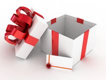 Gift  open white box. 3D images Stock Photos