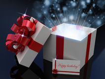 Gift  open white box. 3D images Royalty Free Stock Photos