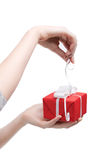 Gift opening Stock Photos