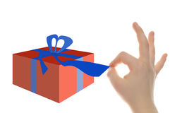 Gift opening pulling belt Royalty Free Stock Photography