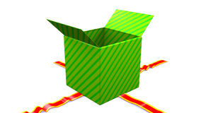 Gift Opening on white background, alpha matte. Opening green box with unwrapping red ribbon stock video footage