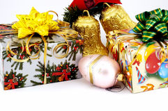 Gift and ornament for Christmas. Christmas still-life with ornaments and a gift Stock Photos