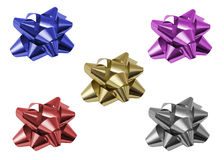 Gift ornament star. Isolated with clipping path over white background in different colors Royalty Free Stock Photo