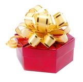 Gift over a white background. Red giftbox with golden ribbon Stock Photo