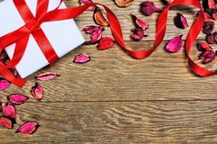 Gift over wood background Stock Photos