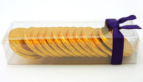 Gift pack of chocolate gold coins Stock Photos