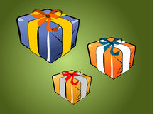 Gift pack on green stock images