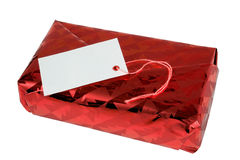 Gift Package. Shiny Red Siver Gift Box with Blank Card. Isolated, Path Included in JPG Stock Photography