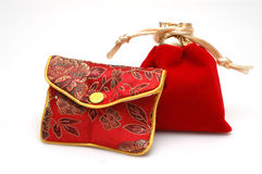Gift package. 2 Chinese style packages inside, red color, isolated. The people usually put the gold & jewelry with the package in China, such as wedding gift Stock Image