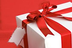 Gift package with blank name card Stock Photography