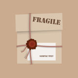 Gift package cardboard box with wax seal. Warning sign and copy space for text. Vector eps10 illustration Stock Images