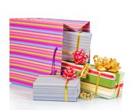 Gift package with christmas boxes Royalty Free Stock Images