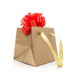Gift package of gold colour Royalty Free Stock Images