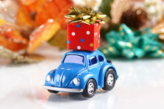 Gift package on small car Stock Photo