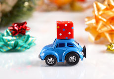 Gift package on small car Stock Images