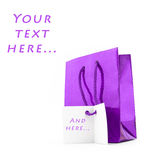 Gift package of violet  with a card Stock Photography