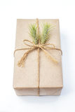 Gift package wrapped with paper and rope with a leaf Royalty Free Stock Photos