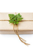 Gift package wrapped with paper and rope with a leaf Royalty Free Stock Image