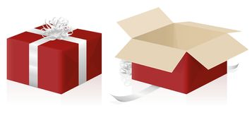 Gift Package Wrapped Unwrapped Red Parcel. Gift package, wrapped and unwrapped red parcel, closed and opened present carton box - 3d isolated vector illustration Royalty Free Stock Image