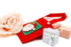 Gift packages colored  and Christmas-accessories isolated on white Royalty Free Stock Image