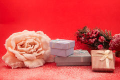 Gift packages colored  and Christmas-accessories isolated on white. Gift packages colored  and Christmas-accessories isolated Royalty Free Stock Photography