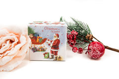 Gift packages colored  and Christmas-accessories  on white. Gift packages colored  and Christmas-accessories Stock Image