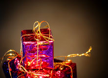 Gift packages for a party such as Christmas Royalty Free Stock Images