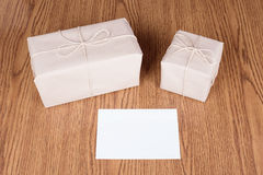 Gift packages wrapped in brown recycled paper Stock Photography