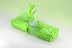 Gift packaging in green with spring Royalty Free Stock Photography