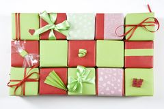 Gift packet. In green and red Royalty Free Stock Photography