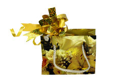Gift packing. A small handbag with a bow Stock Photo