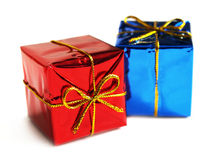 Gift packing. Small gifts on a white background Royalty Free Stock Photography