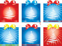 Gift packing. Variants of registration of a gift box by Christmas with a bow and a tape Royalty Free Stock Photo