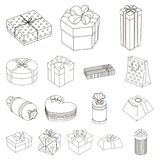 Gift and packing outline icons in set collection for design.Colorful packing vector symbol stock web illustration. Gift and packing outline icons in set Stock Image